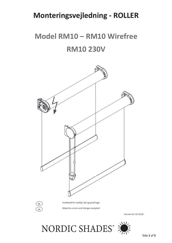 NS - Monteringsvejledning - RM10 - RM10 Wirefree - RM10 230V